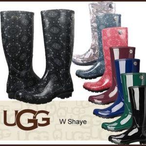 Ugg Shaye Bandana Pink Mid-Calf Rain Boots 9